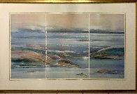 Sea At Dawn Triptych Watercolor 1987 47x72 Super Huge Watercolor by Elba Alvarez - 1
