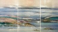 Sea At Dawn Triptych Watercolor 1987 47x72 Super Huge Watercolor by Elba Alvarez - 0