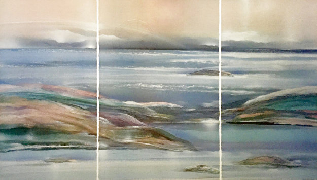 Sea At Dawn Triptych Watercolor 1987 47x72 Watercolor by Elba Alvarez