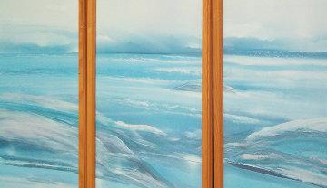 Ocean Seascape, 3 Watercolors (Triptych) 1987 43x51 Super Huge Watercolor - Elba Alvarez