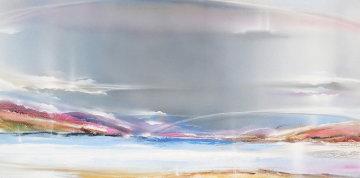 Untitled Landscape 1984 48x108 Mural Original Painting - Elba Alvarez