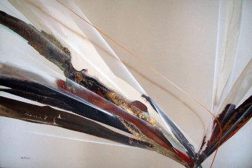Untitled Abstract 1981 51x75 Huge Original Painting - Elba Alvarez