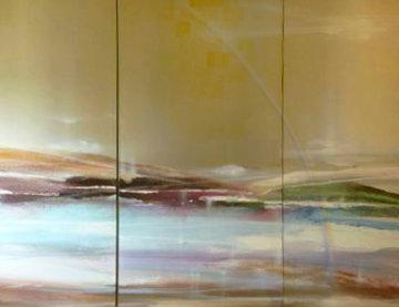 Untitled Landscape, Triptych 1982 60x77 Original Painting - Elba Alvarez