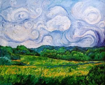 Skies of Blue, Fields of Green 2000 55x67 Original Painting - Amanda Dunbar