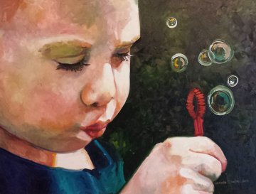Bubble Maker 2   34x44 Original Painting - Amanda Dunbar