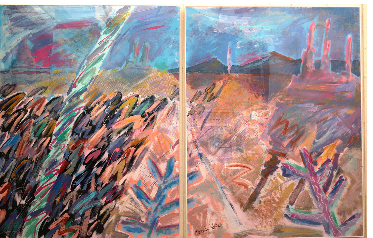 A Walk Through Monument Valley  1987 52x76  Huge Original Painting by Amanda Watt