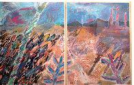 A Walk Through Monument Valley  1987 52x76  Huge Original Painting by Amanda Watt - 0