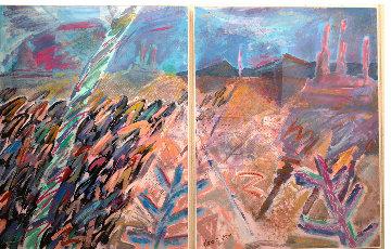 A Walk Through Monument Valley  1987 52x76  Huge Original Painting - Amanda Watt