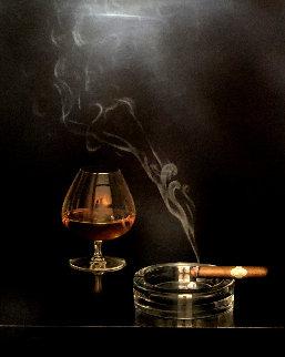 Cigar And Brandy 42x40 Original Painting by Teimur Amiry