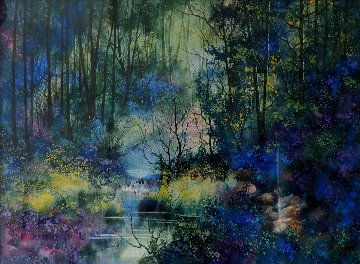 Sheltered By the Woods Watercolor 1990 40x49 Original Painting by Diane Anderson
