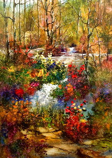 Sunny Lake Afternoon Watercolor 1980 35x43 Watercolor - Diane Anderson