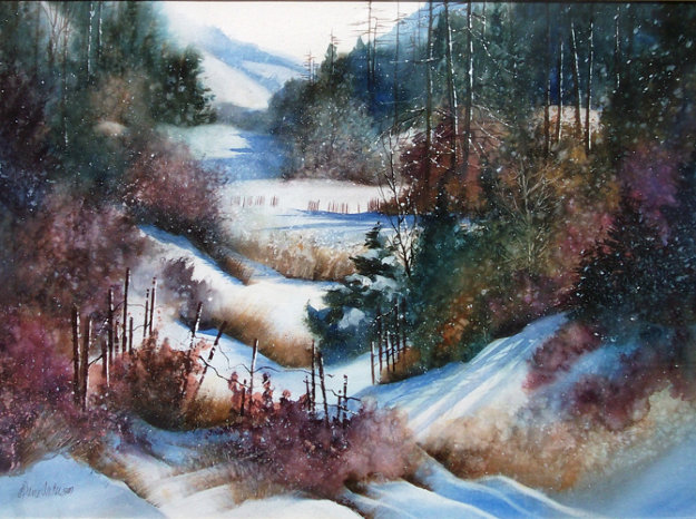 Winter Hike 37x44 Original Painting by Diane Anderson