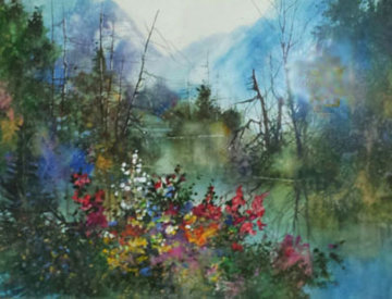 Mountain Lake Morning Watercolor 33x41 Watercolor - Diane Anderson