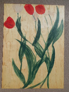Tulips II Monotype 2002 27x20 Works on Paper (not prints) - Joe Andoe
