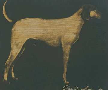 Medium Dog (Olive Green And Byzantine Gold) 1998 Limited Edition Print - Joe Andoe