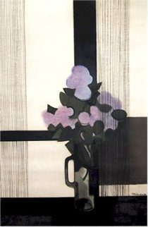 Fleurs Mauve Mixed Media Drawing 1970 Drawing by Andre Minaux