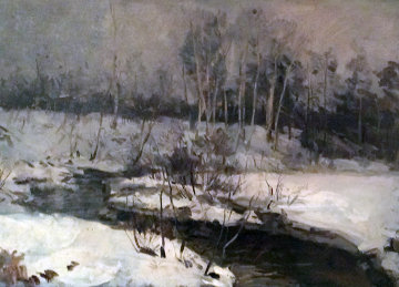 Winter Scene By a River 2005  28x34  Original Painting - Peter Andrianov
