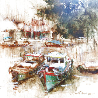 Resting Boats (Old Singapore) 1977 18x18 Original Painting - Ang Ah Tee