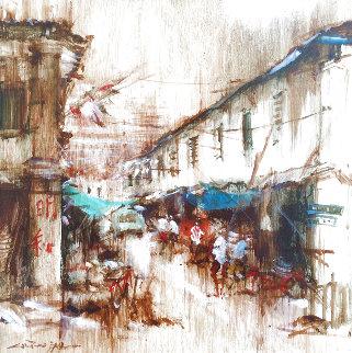 Street Scene (Old Singapore) 1977 18x18 Original Painting - Ang Ah Tee