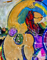 Modigliani Rides the Waves 2020 46x48 Super Huge Original Painting by Giora Angres - 2