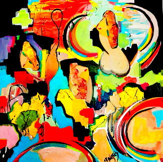 Very Personal 2020 48x48 Super Huge Original Painting - Giora Angres