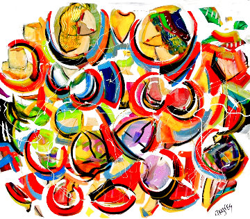 A Drones Eye View 2020 48x48  Huge Original Painting - Giora Angres