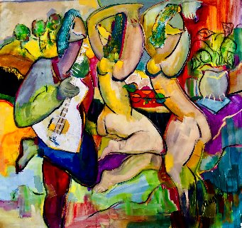 Untitled Abstract Painting 2020 48x48 Super Huge Original Painting - Giora Angres