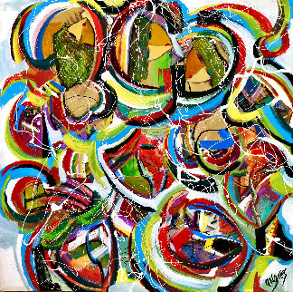 Partied Out 2020 48x48 Super Huge Original Painting - Giora Angres
