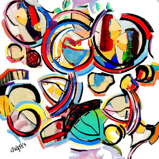 Masks 2020 48x48 Super Huge Original Painting - Giora Angres