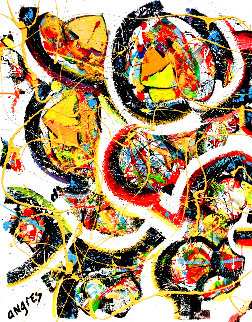 Untitled Abstract Painting 2020 40x30 Original Painting - Giora Angres