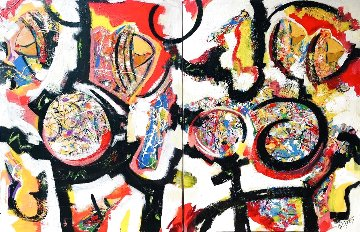 Untitled Painting 2019 48x72 Super Huge Original Painting - Giora Angres