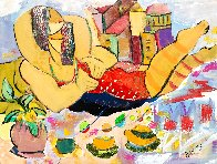 Hugging at the Beach 2018 36x48 Super Huge Original Painting by Giora Angres - 0