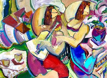 Music Hath Charm 48x58 Huge Original Painting - Giora Angres