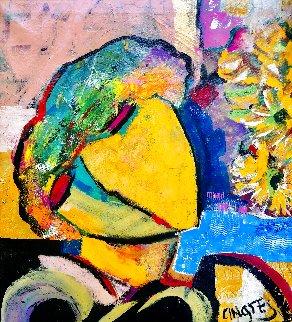 Pensive 2018 22x20 Original Painting - Giora Angres