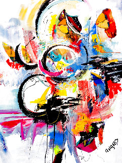 Untitled Abstract Painting 2019 48x36 Original Painting - Giora Angres