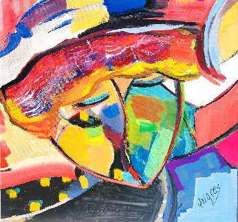 Untitled Painting 24x25 Original Painting - Giora Angres