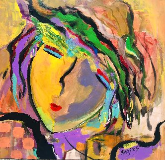 Sun Face 2015 22x24 Original Painting - Giora Angres