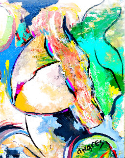 Untitled Portrait of a Woman 2015 30x24 Original Painting - Giora Angres