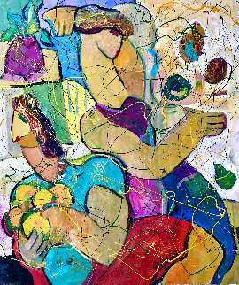 Happy Woman 2015 36x32 Huge Original Painting - Giora Angres