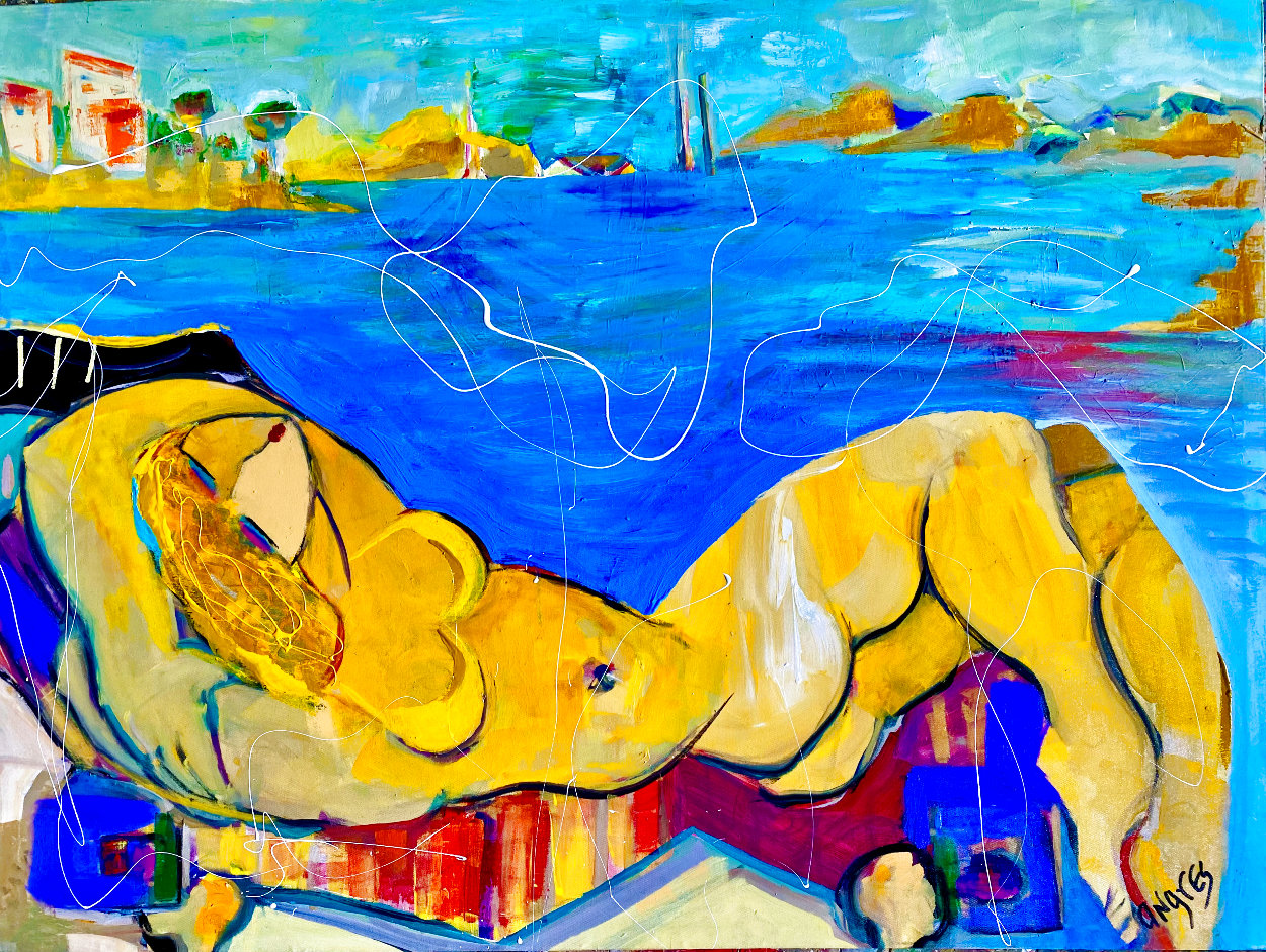 Beach Babe 2014 36x48  Huge Original Painting by Giora Angres