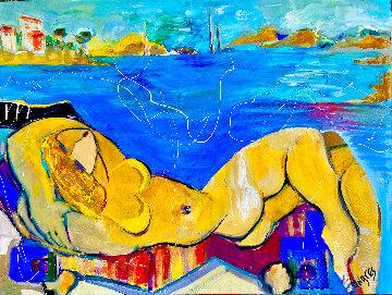 Beach Babe 2014 36x48  Huge Original Painting - Giora Angres