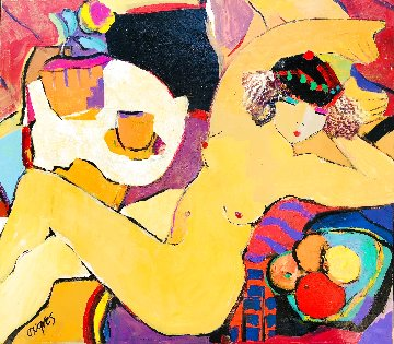 Napping Nude 2020 32x36 Original Painting - Giora Angres