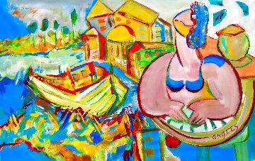 Laguna 2018 36x48 Original Painting - Giora Angres