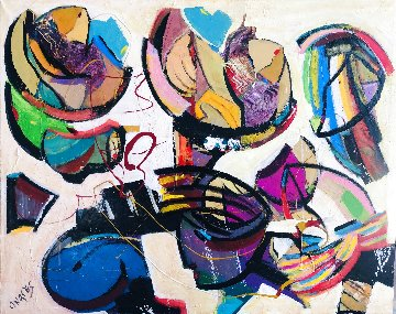 All Together 2020 31x40 Huge Original Painting - Giora Angres
