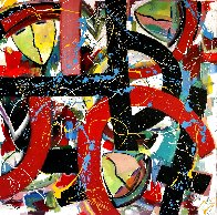 Wound Together 2021 48x48 Super Huge Original Painting by Giora Angres - 1