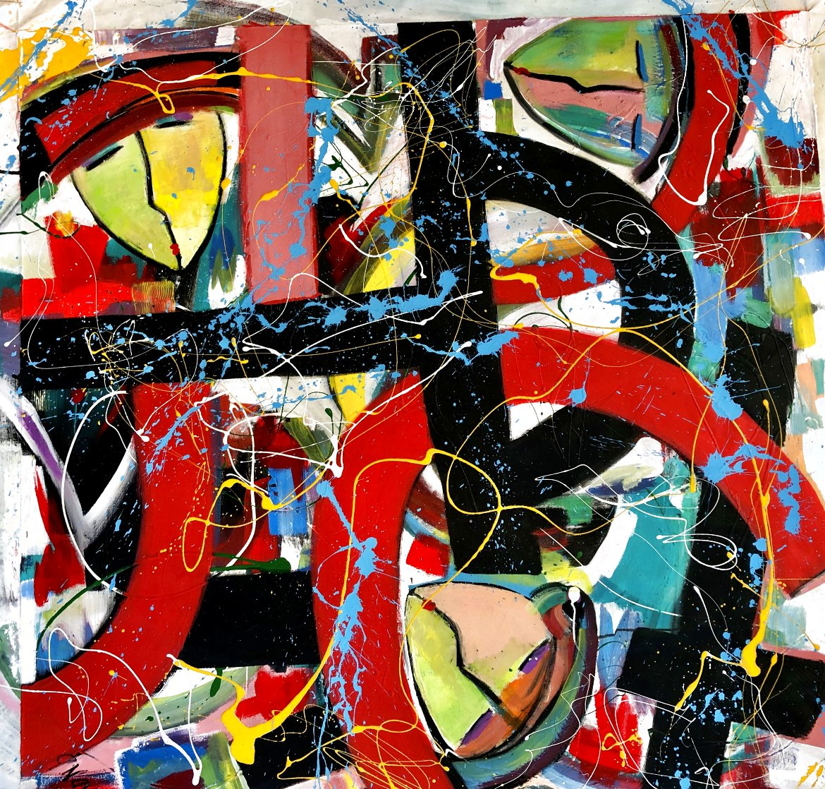 Wound Together 2021 48x48 Super Huge Original Painting by Giora Angres