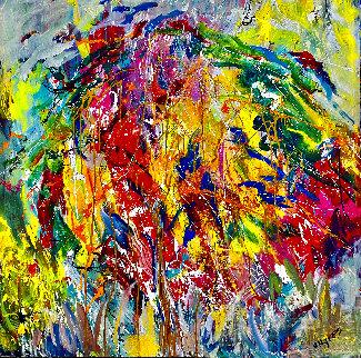 Tropical Breeze 2019 48x48  Super Huge Original Painting - Giora Angres