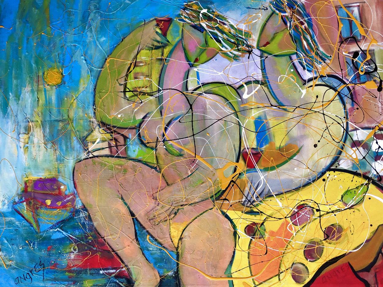 Ocean Beach 2018 34x46 Super Huge Original Painting by Giora Angres