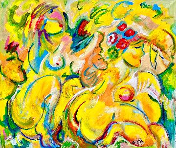 Frolicking Around 2018 46x48  Super Huge Original Painting - Giora Angres