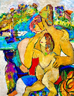 Family Fun on the French Riviera 1998 44x34  Huge Original Painting by Giora Angres - 1